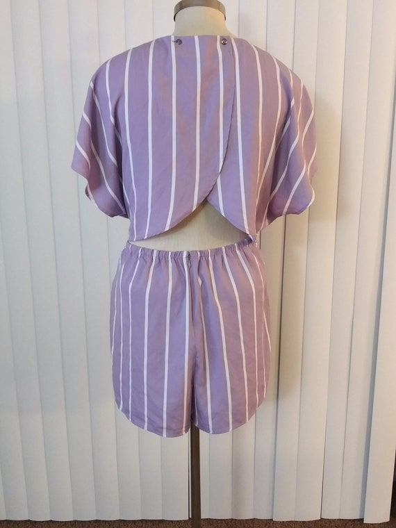 f Lavender /& White White Striped  Romper w Open Back Vintage Forever 21 Plus Size 2X