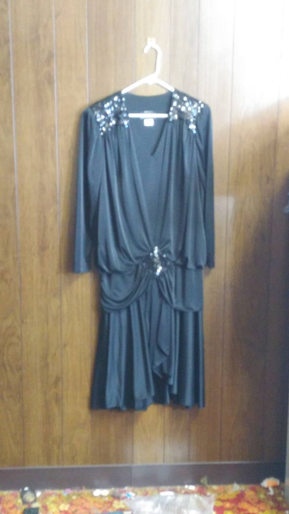 Vintage David Rose Black Evening Dress Size 12 Sequins Accents Etsy