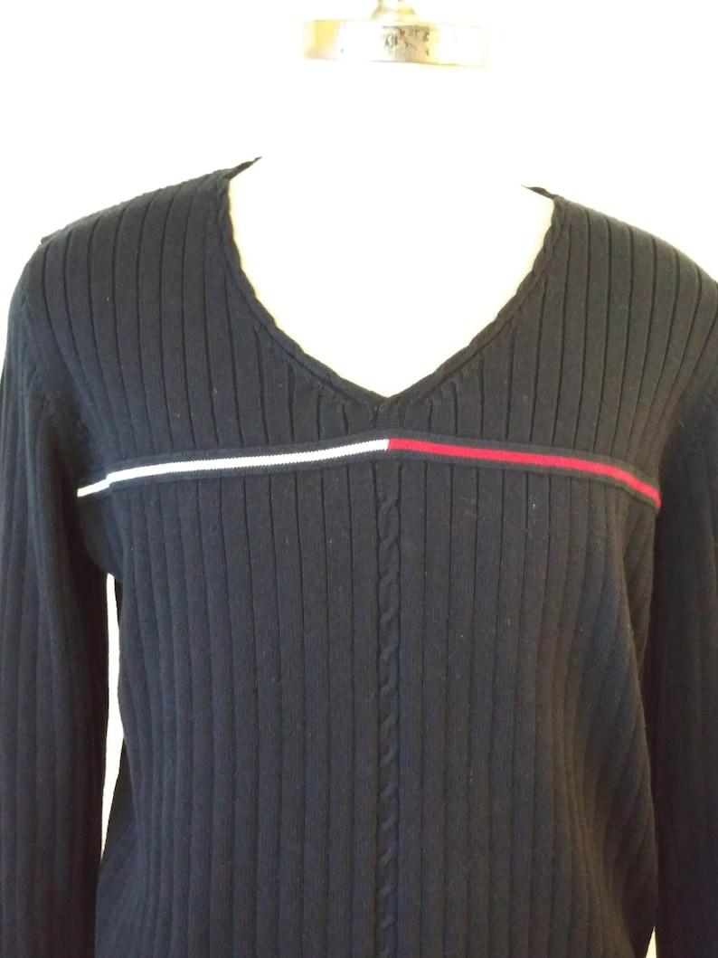 90s Tommy Hilfiger  Blue Flag Stripe Ribbed V-neck Sweater Plus Size XXL vc3