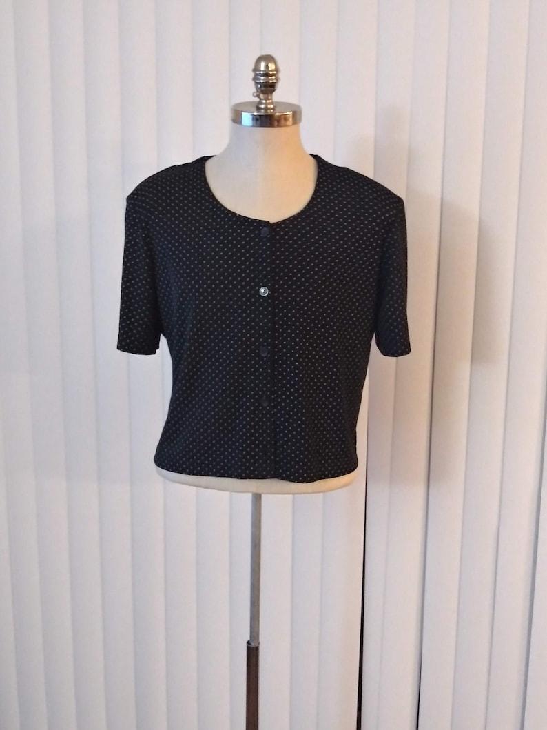 vc2 90s Crop Top  Black /& White Polka Dot Blouse Vintage Plus Size 1618 Short Sleeves Stretchy Shirt