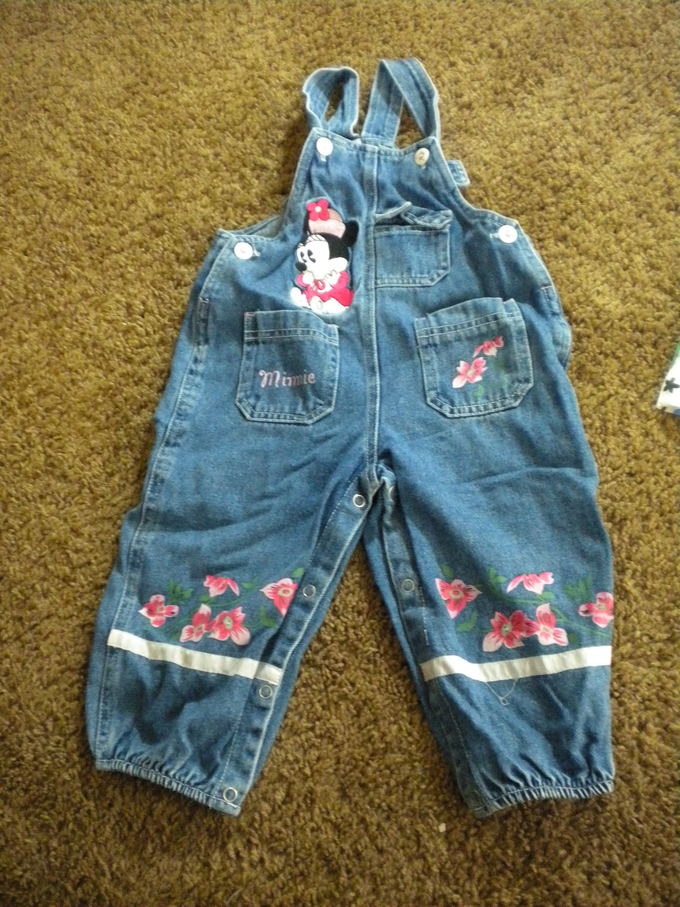 Vintage Overalls & Jumpsuits Vintage Mickey  Co Baby Minnie Mouse Overalls Sz 18M Pink Flowers Fun 90S Denim Vibe  V2 $35.00 AT vintagedancer.com