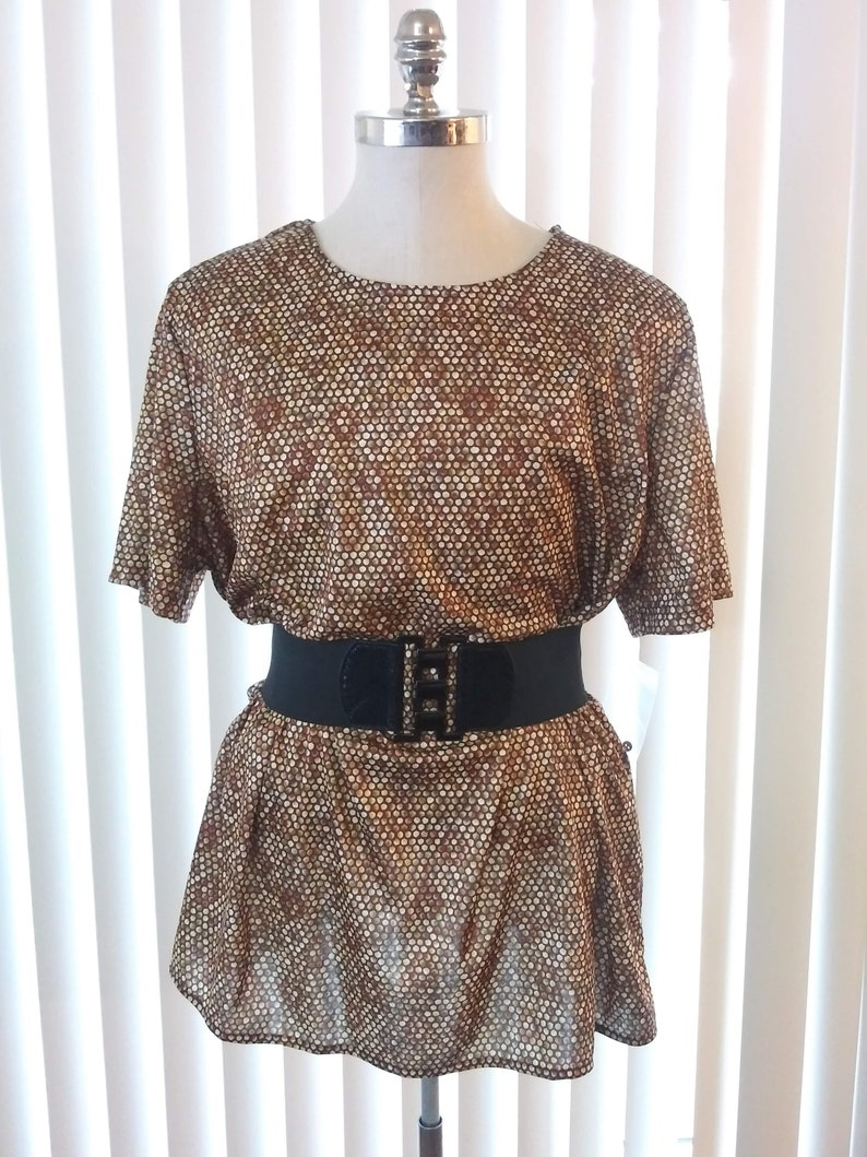 vc2 80s Vintage Stretchy Brown Copper Blouse Plus Size 2X Short Sleeves Circular Pattern New