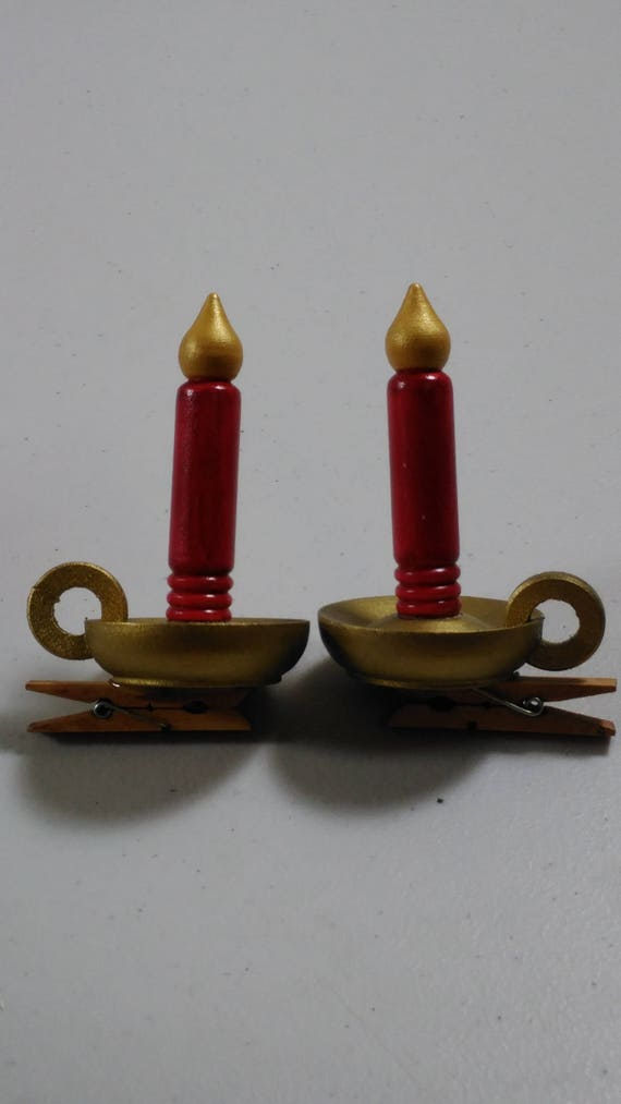 Wooden Candle Sticks Decorative Clips Set Of 2 Vintage 4 Tall 1