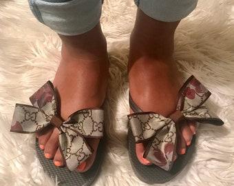 ee0413567 Custom Made Gucci Bow Embellished Flip Flops/Gucci (custom made) Flip Flops/Custom  Made Gucci Embellished Flip Flops