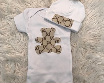 12acd4b890a Gucci Teddy Bear Onesie and Beanie Set New born Coming Home Set Girl s Gucci  Outfit Boy s Gucci Outfit