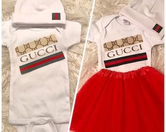 9154298a2 Custom Made Unisex Gucci Onesie and Beanie Set/Newborn Coming Home  Set/Custom Made Unisex Gucci Onesie Set