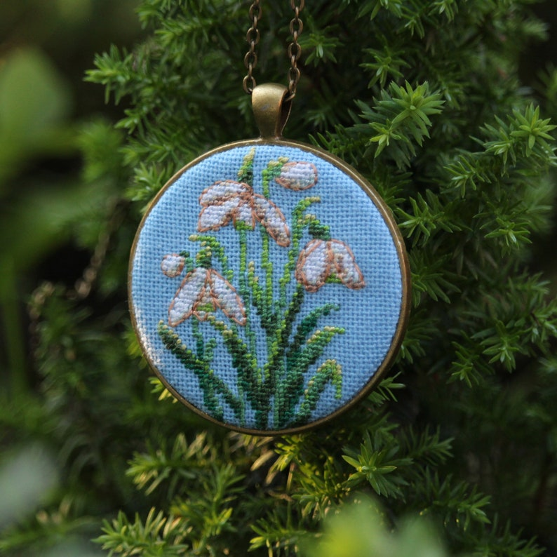 Snowdrop embroidery necklace White flower jewelry Hand embroidery Gift for beloved Spring flower necklace Cute pendant Cotton anniversary