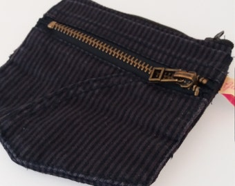 Coin purse with key recycled striped black pants pockets included