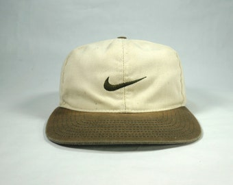 faf075c4c1742 Vtg Nike Swoosh Two Tone Adjustable Snapback Baseball Cap