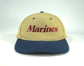 d121147f912 Vintage 90s Marines USMC Two Tone Dad Hat