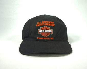 3cc920df All American Harley Davidson Motorcycles Genuine Vtg Hat || Baseball Cap  Black Adjustable Strapback