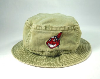 a7aa32958a9 Vintage 90 s Cleveland Indians Chief Wahoo Bucket Hat