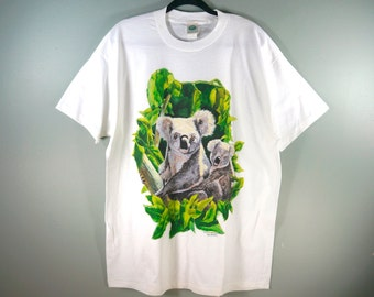 6a01261c35cd Vintage 80s Koala National Wildlife Federation T Shirt, White Size XL,  Koalas Animal T Shirt, USA Made