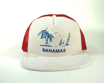 1f214ffa Vtg Bahamas Snapback Cap Trucker Hat, Two Tone Light White and Red, Sailing  Hat, Tropical