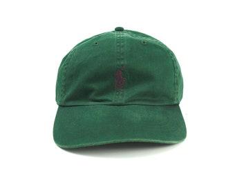 Polo vintage chapeau de papa de Ralph Lauren, Polo RL casquette de Baseball  vert de forêt avec Logo brodé poney, chapeau w   Strapback en cuir réglable 34c9e07c801