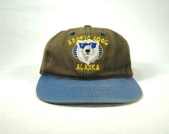 brand new 4517d 6afe3 Vintage Arctic Cool Alaska Baseball Cap, Two Tone Faded Hat with Snapback,  Polar Bear Hat, Mac Demarco