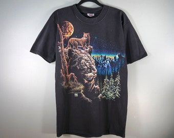 2348f8e6 Vintage Mountain Lion T Shirt, Size L, Black Retro Graphic Tee Collage Shirt,  90's Puma, Cougar, Animal Tee, Wildlife Nature, Made in USA
