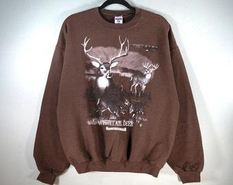 17cd454e8550 Vintage Whitetail Deer Crewneck Mocha Sweatshirt