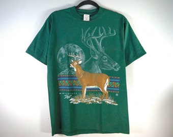 396894d0fff5d Vintage Whitetail Deer T Shirt, Size M, Collage All Over Print, Nature Deer  Graphic Shirt, USA Made