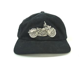 0df92e3a616 Vintage Motorcycle Profile Black Dad Hat