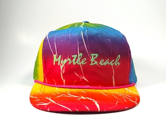 682191245ed Vintage Tie Dye Myrtle Beach Trucker Hat Snapback Cap