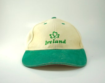 fc702839 Vintage Ireland Dad Hat, Baseball Cap 90s Two Tone Hat, White and Green,  Adjustable Strapback