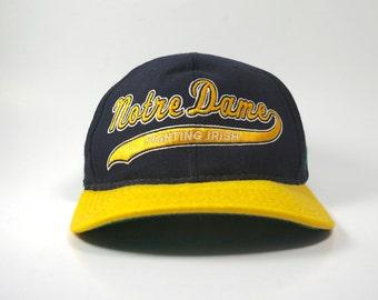 Vintage Notre Dame Script Logo Starter Adjustable Snapback Hat Cap  a2771c1e2efa
