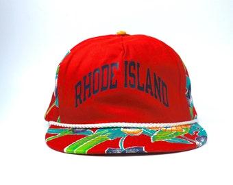 97fd610c5b1 Vtg Rhode Island Floral Adjustable Snapback Hat Cap