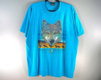 fbdc0b73 Vintage Grey Wolf T Shirt, Size XL, American Heritage, Graphic Print Shirt,  USA Made, Screen Stars Best T Shirt