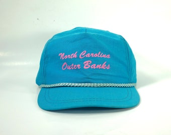 29378a1157676 North Carolina Outer Banks Vintage 80s Trucker Hat Snapback Cap