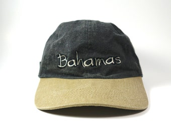 21dc0046 Bahamas Vtg Two Tone Dad Hat || Distressed Baseball Cap || 90s Adjustable  Strapback
