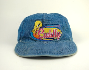 Vintage 1997 Tweety Bird Cuddly Denim Dad Hat a4dab6eceac3