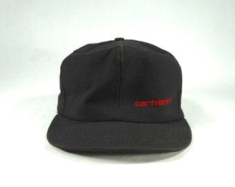 0bcbd4774b71d Vintage 90s Carhartt Black Canvas Snapback Hat
