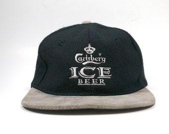 f491ce02086 Vtg Carlsberg Ice Beer Adjustable Strapback Wool Hat Cap