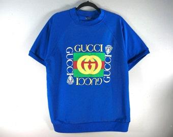 6aec5befb Vintage Gucci Diamond Crewneck Sweatshirt, Short Sleeve 90s Retro Big  Spellout Sweater, Size XL, Rap Hip Hop