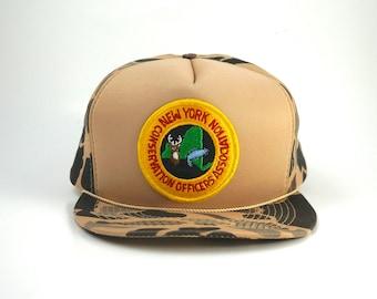 dfbf32dec1a Vintage New York Conservation Officers Association Patch Camo Adjustable  Snapback Hat