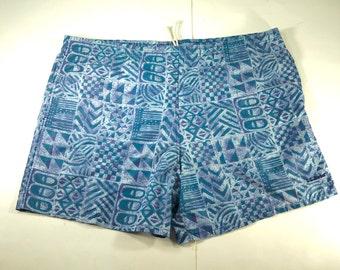 7528be886c020 Vintage LL Bean Geometric Swim Trunks, Blue, Baggies, 90's Board Shorts,  Mens 's sz L, Nylon, Mesh Lined, Tribal Pattern, USA Made