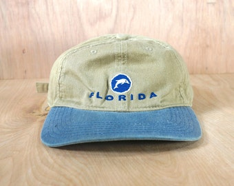 b4345620797191 Vintage Florida Two Tone Dad Hat, 90's Tan and Blue Baseball Cap with  Adjustable Strapback, Low Profile, Logo Spellout