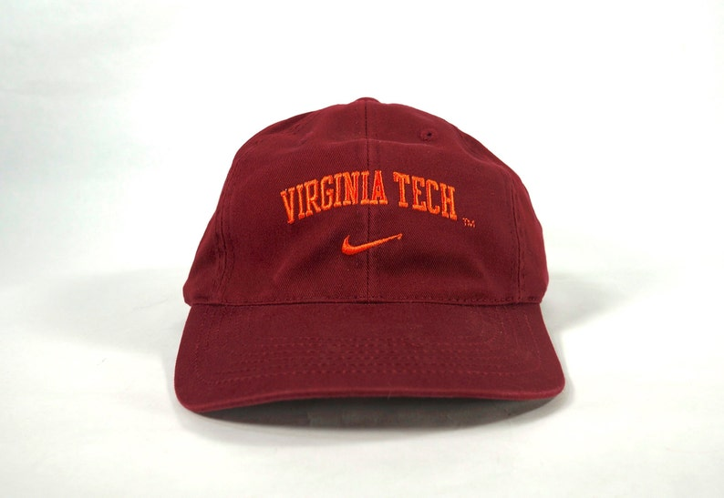 92761e51d Vintage Nike Virginia Tech VT Spellout Logo Adjustable Strapback Hat Cap,  Maroon 90s Dad Hat, Hokies, Swoosh Logo, Nike Team