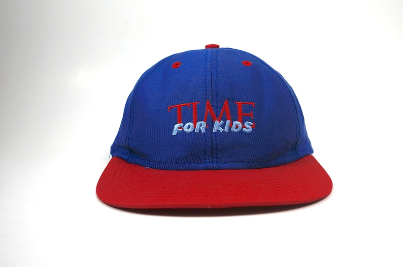 70803adc TIME For Kids Vtg Dad Hat || Baseball Cap 90s Two Tone Hat || Red and Blue  Adjustable Snapback