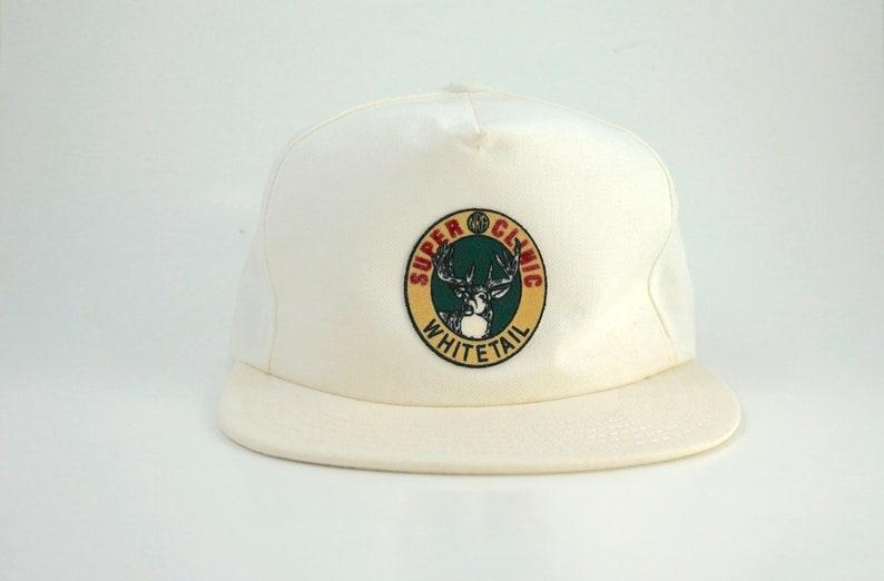 592fd6fac999d Vintage Super Clinic Whitetail Logo Snapback Hat White Deer