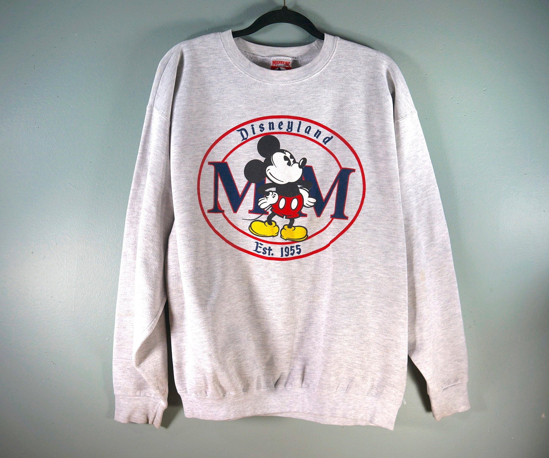 Vintage Disneyland Mickey Mouse Crewneck Sweatshirt, Mickey Inc Gray  Sweater, Size Large, USA Made