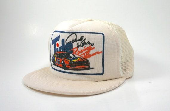 bd146a48d6a Vtg Tide Racing Team Trucker Snapback Hat Cap 80s USA Made
