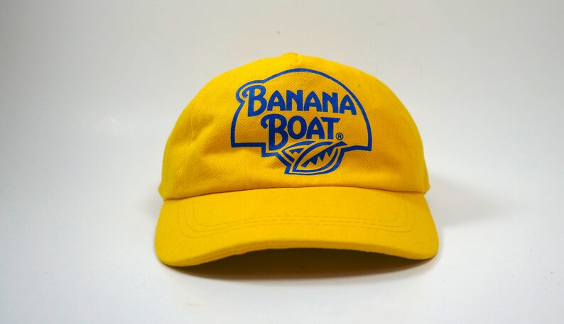 3743a7ae67a Banana Boat Yellow Dad Cap Hat with Strapback Retro Printed