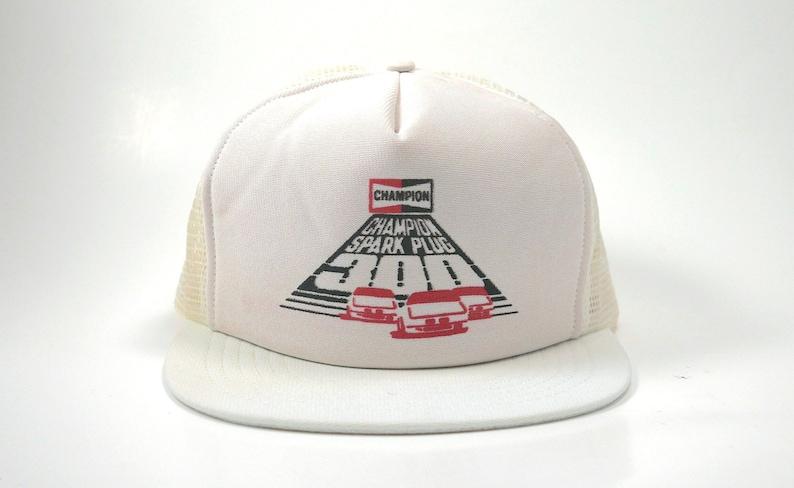 636ebbf0b3 Vtg Champion Spark Plug 300 Trucker Snapback Hat Cap 80s USA