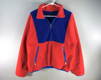 Vintage The North Face Red Blue Fleece Pullover, 90s, USA Made, Sz M Unisex, Color Block