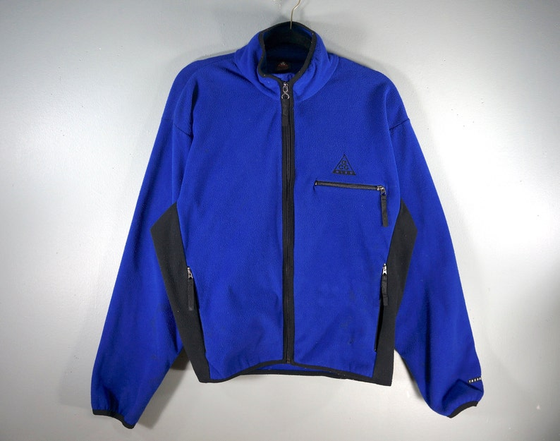 73cc8babebb87 Vintage Nike ACG Full Zip Up Fleece, Royal Blue Pullover, Men's Sz Medium,  Embroidered Logo, Zipper Pockets