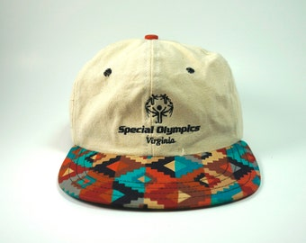 Vintage Aztec Special Olympics Dad Hat || Virginia Baseball Cap || 90s Two Tone Hat || Low Profile