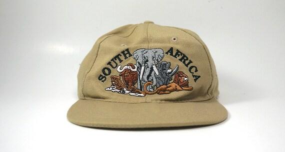 Vintage South Africa Tan Beige Dad Hat Elephant Lion  9255f67f4a3