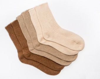 100% organic camel wool socks - ribbed